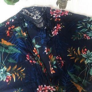 A&E tropical Print Kimono Cardigan
